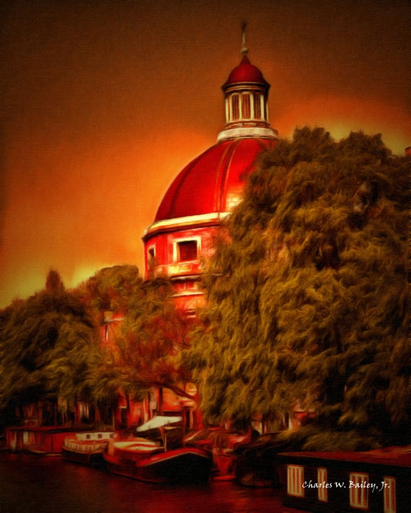 Digital Oil Painting of the Ronde Lutherse Kerk by Charles W. Bailey, Jr.